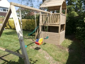 Rear View Bambi Single Tower Climbing Frame